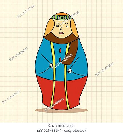 Matryoshka, Russian traditional wooden doll, vector pattern, elements,eps