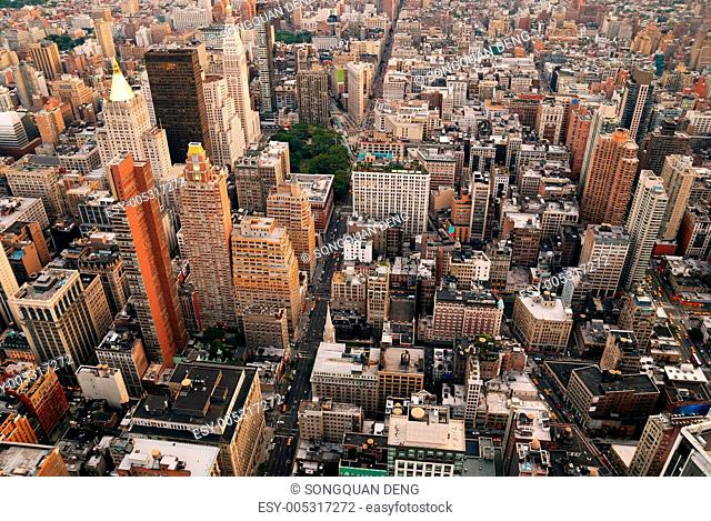 New York City skyline street aerial view