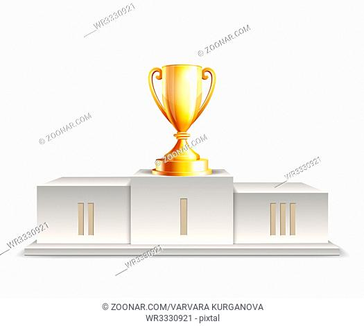 Podium winners with Golden trophy cup isolated on white background. Vector illustration