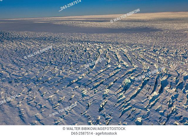 Greenland, Disko Bay, Ilulissat, Ilulisat Kangerlua Glacier, aerial view