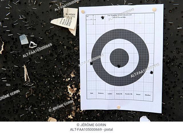 Bullet holes in shooting target