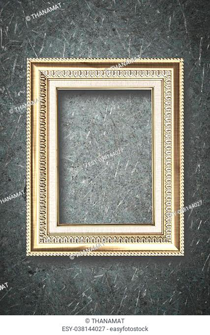 Photo frame on wooden board background texture