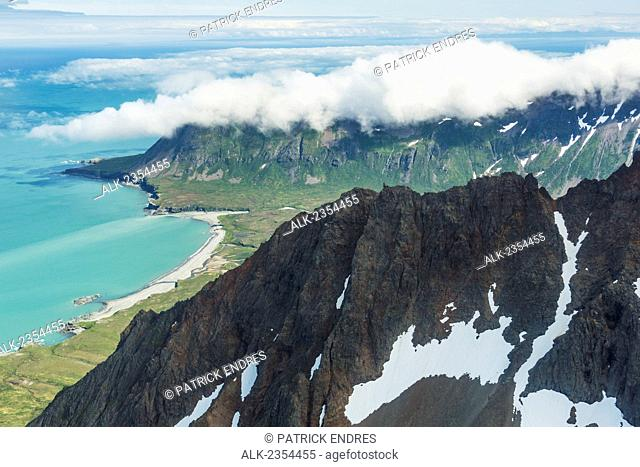 Aerial of Aleutian mountains, Shelikof Straight, Katmai National Park, Alaska Peninsula, Southwest Alaska