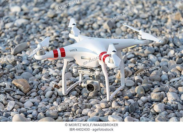 Quadcopter, drone with camera on ground, DJI Phantom 3