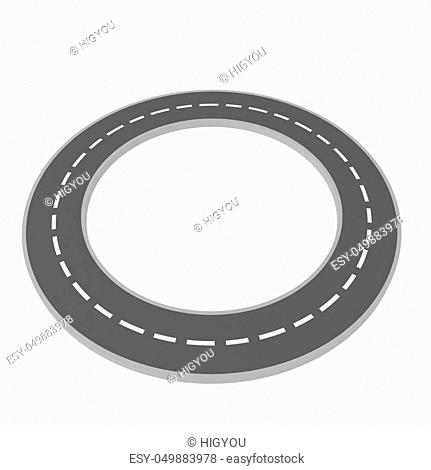 3d road forming a circle, over white, isolated