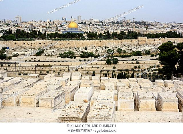 Israel, Jerusalem, the Mount of Olives, cityscape, old town, Dome of the Rock, city wall, cemetery, religion