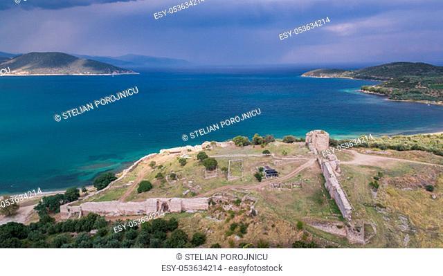 the ruins of the castle of Nea Peramos, Greece