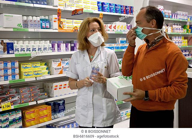 Photo essay in a chemist's shop. Prevention of influenza A H1N1