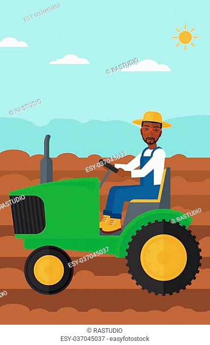 An african-american man driving a tractor on a background of plowed agricultural field vector flat design illustration. Vertical layout