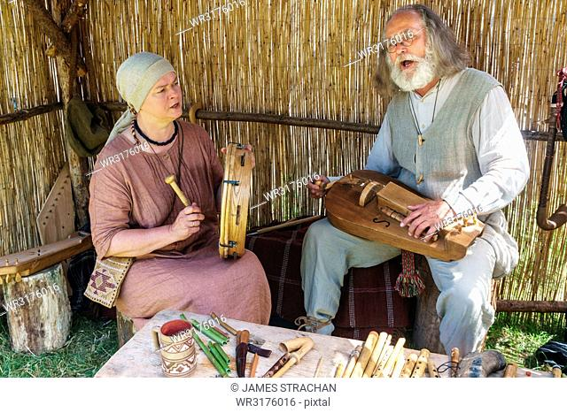 Lithuanian folk musicians at the International Festival of Experimental Archaeology, Kernave, Lithuania, Europe