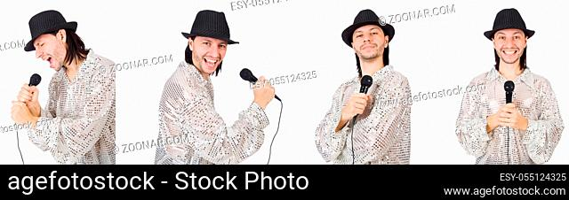 Young man singing with microphone isolated on white