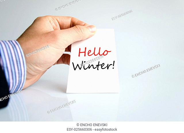 Hello winter text concept isolated over white background