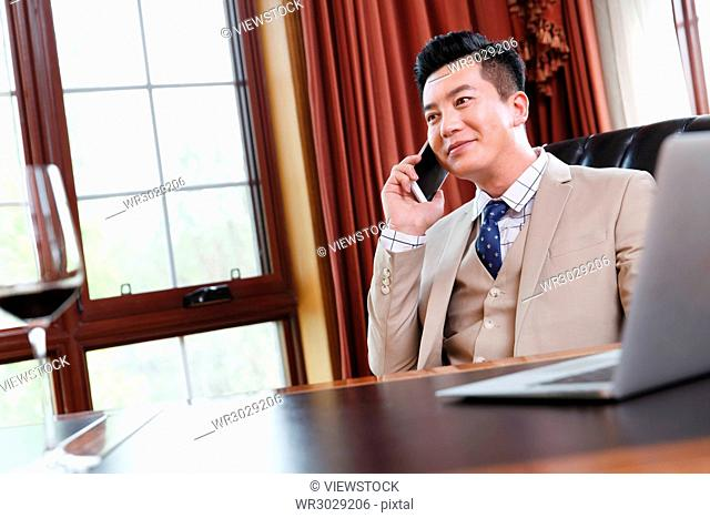 The business man phoned in the study