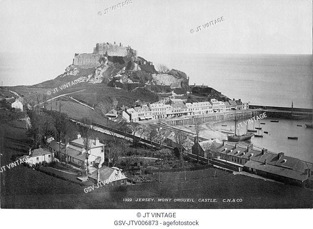 Mont Orgueil Castle and Harbor of Gorey, Jersey, England, UK, Albumen Photograph, circa 1895