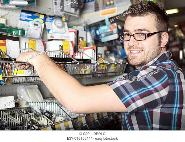 A hardware store client do some shopping for his project