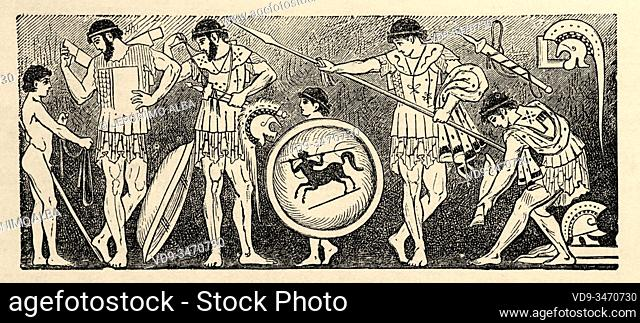 Attic vase image, Greek warriors prepare themselves, time of the Persian wars 500-449 BC. Greece ancient history. Old engraving illustration from the book...