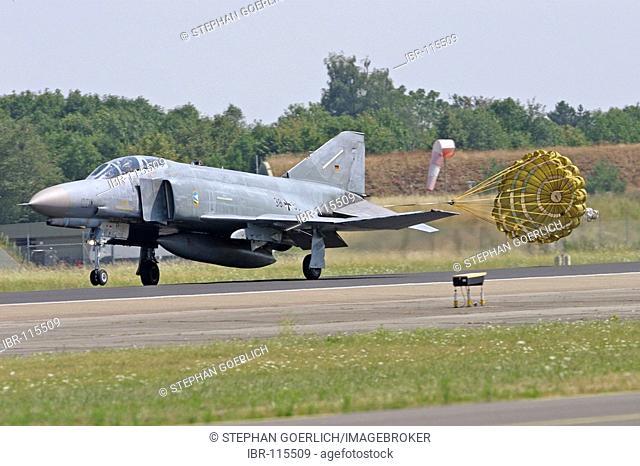Neuburg/Donau, GER, 25. July 2006 - A jet F-4F PHANTOM II touch down on the airfield of air fighter squadron 74 in Neuburg/Donau