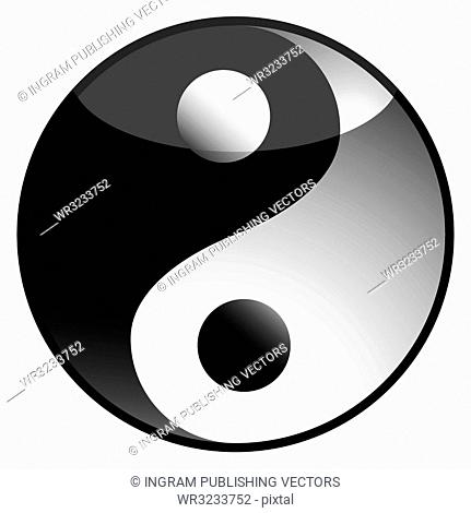 black and white ying yang icon with light reflection