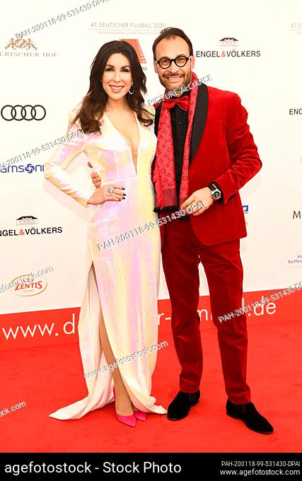 18 January 2020, Bavaria, Munich: Judith Williams, businesswoman, and her husband Alexander-Klaus Stecher, come to the 47th German Film Ball at the Hotel...