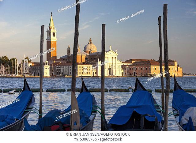 Gondolas moored across the canal from San Giorgio Maggiore, Venice, Veneto, Italy