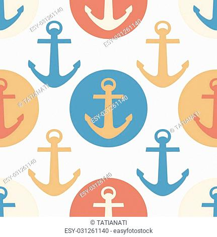 Vector seamless pattern with colorful sea anchors. Background for baby design. Textile and wrapping paper