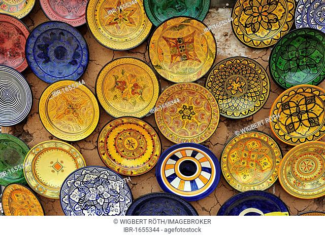 Hand-painted pottery from the Rif Mountains being sold in a souk market or bazaar, Morocco, Africa