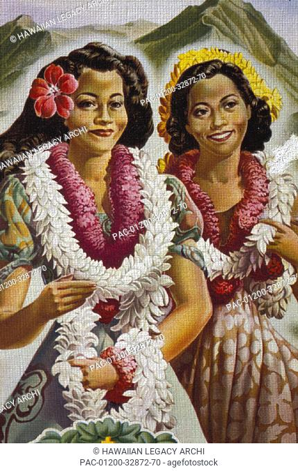 c.1945 editorial art portrait of women smiling with leis D1493