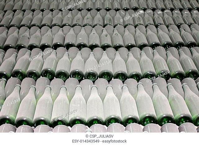 stacked up wine bottles