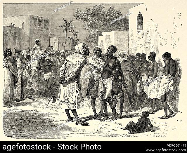 The slave market in Zanzibar, Tanzania, East Africa. The Last Journals of David Livingstone Scottish missionary and explorer, 1866-1873