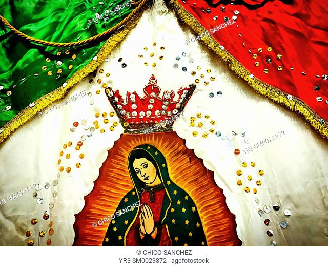 An image of Our Lady of Guadalupe and the Mexican flag decorate the Museo de Arte Sacro of Queretaro, Mexico