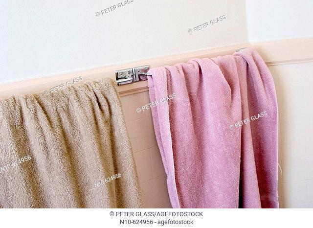 Two towels, one brown and one pink, hanging on a bathroom towel rack
