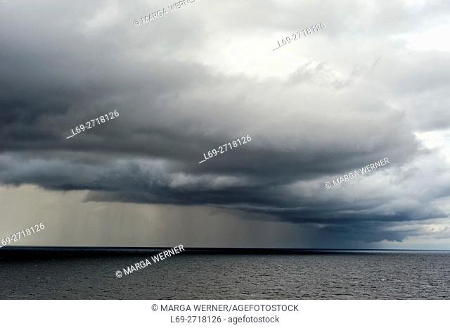 Rain clouds over Baltic Sea, Europe