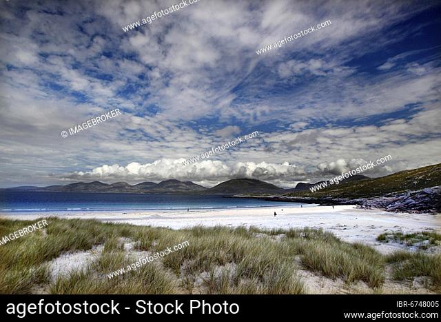 Luskentyre beach, white sand beach, dunes, dune grass, North Atlantic, sky with clouds, cloud formation, Isle of Harris, Outer Hebrides, Western Isles, Hebrides