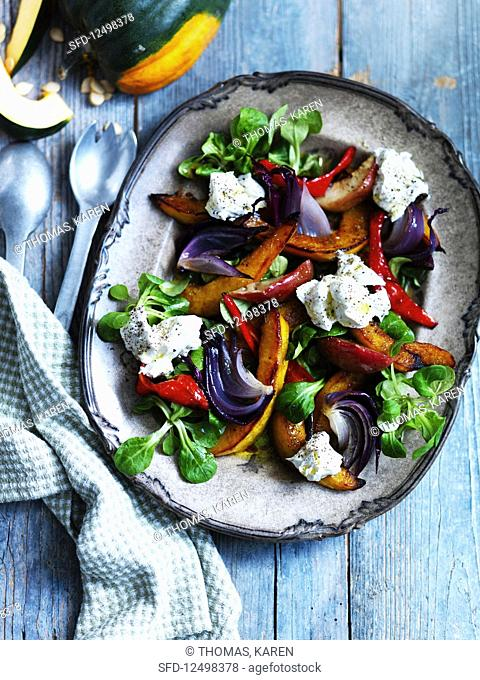 Roasted vegetable salad with mozzearella and lambs lettuce