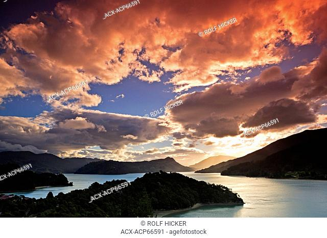 Sunset in Kenepuru Sound, Marlborough District, South Island, New Zealand
