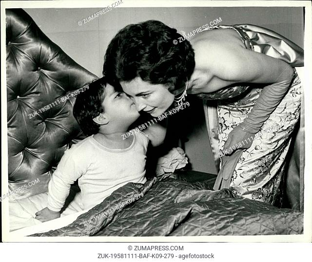 Nov. 11, 1958 - Wife Of The Bolivian Ambassador And Her Young Daughter: H.M. The Queen held a party at Buckingham Palace last night for foreign diplomat