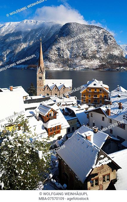 View of Protestant church, Hallstatt on Lake Hallstatt, Salzkammergut region, Upper Austria, Austria