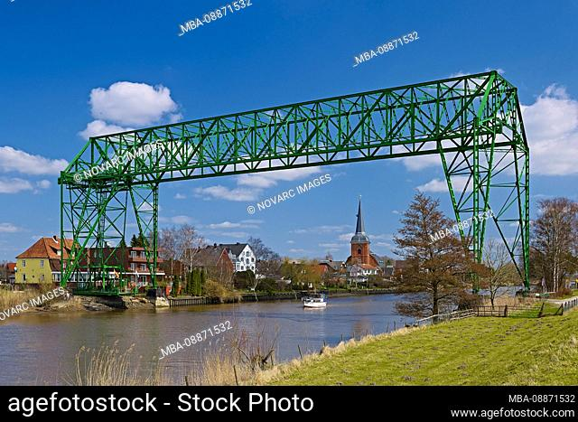 """Schwebef""""hre Hemmoor-Osten with St.Petri Church of the East, Lower Saxony, Germany"""