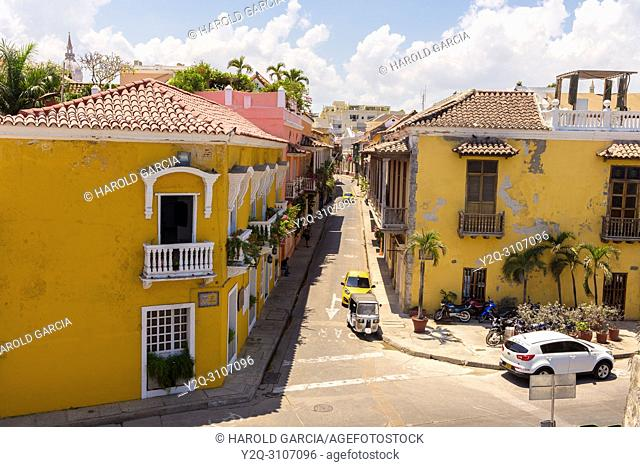 Cartagena Old Walled City historical heritage of humanity by UNESCO and modern highway. Cartagena, Colombia