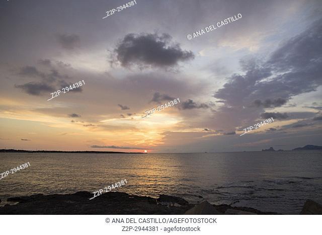 Sunset in La Savina port , harbor in Formentera island in Balearics Spain