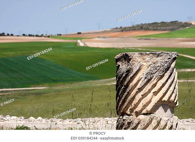 a broken column in the roman ruins of segobriga (Spain)