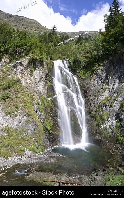 Sauth deth Pish waterfall in Aran valley Lleida Catalonia Spain