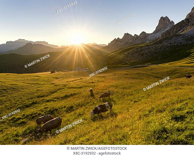 Dolomites at Passo Giau. View towards towards west at sunset. The Dolomites are part of the UNESCO world heritage. Europe, Central Europe, Italy