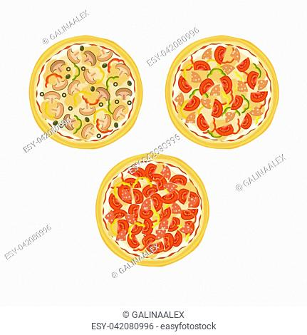 Three pizzas with tomatoes, mushrooms, sausage and peppers on the plate isolated on white background. Vector illustration