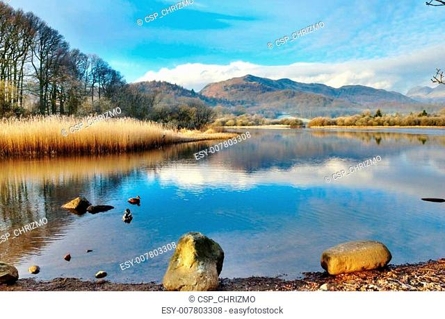 Wetherlam Mountain And Elter Water Lake