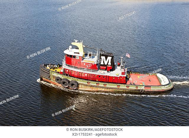 Tugboat Judy Moran, built by McDermott Shipyard in 1973 for Moran Towing, in St  Johns River in Jacksonville, FL