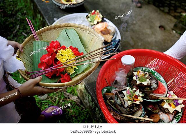 Offerings for kuningan festival, bali indonesia