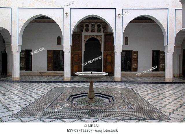 The interior courtyard at the Bahia Palace in Marrakech