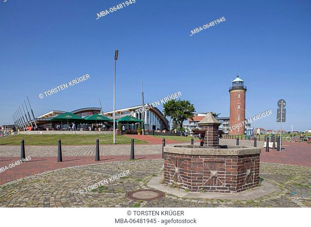 Bistro and Cuxhavener lighthouse, North Sea spa Cuxhaven, Lower Saxony, Germany, Europe