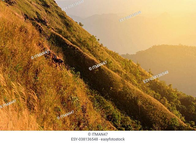 Beautiful mountain with sunlight at sunset
